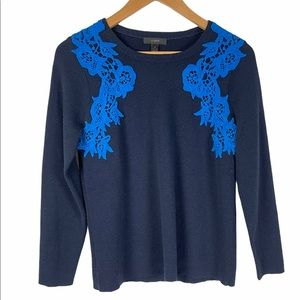 J. Crew Embroidered Blue Scoop Neck Sweater